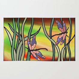 dragonflies in the grass on a colored background ( https://society6.com/totalflora/collection ) Rug