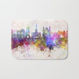 Lublin skyline in watercolor background Bath Mat