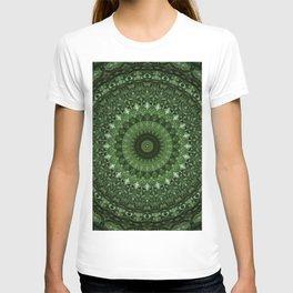 Mandala in olive green tones T-shirt