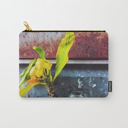 yellow euphorbia milii plant with old lusty metal background Carry-All Pouch