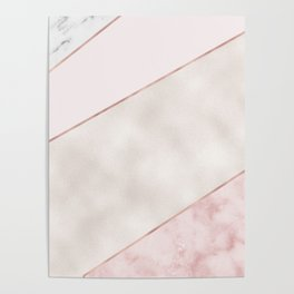 Spliced mixed pink marble and rose gold Poster