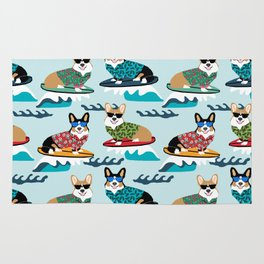 corgi surfing dog pattern corgis Rug