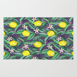 When Life Gives You Lemons - grey purple Rug