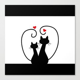 Silhuette Two Cats n' Hearts Canvas Print