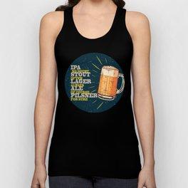 Beer always, vintage poster, circle, blue Unisex Tank Top