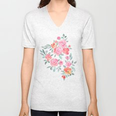 Amelia Floral in Pink and Peach Watercolor Unisex V-Neck
