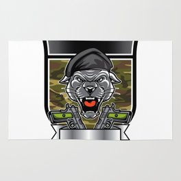 Cougar Panther Mascot Head military emblem Rug