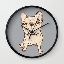 Cream French Bulldog Wall Clock