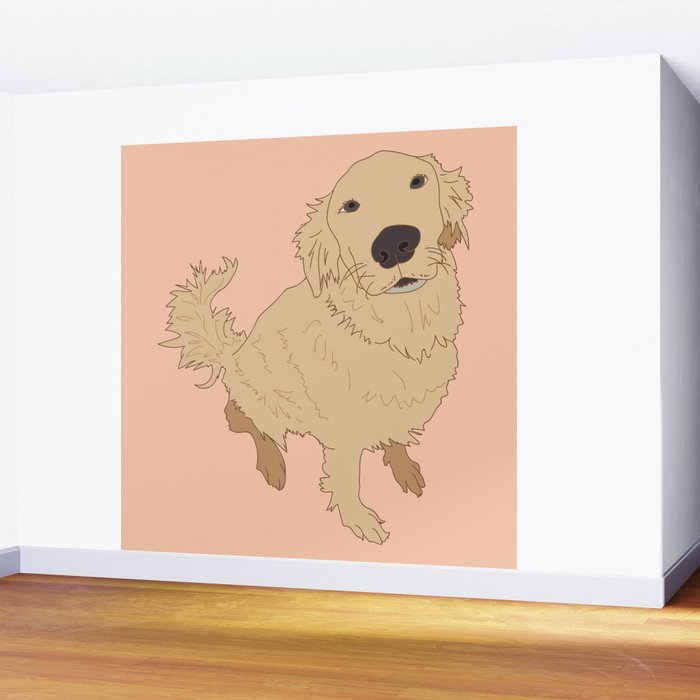 Golden Retriever Love Dog Illustrated Print Wall Mural
