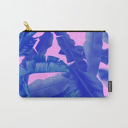 tropical banana leaves pattern,pink,blue Carry-All Pouch