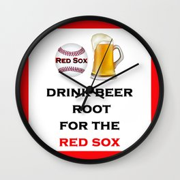 Red Sox Team Baseball Fans Beer Wall Clock