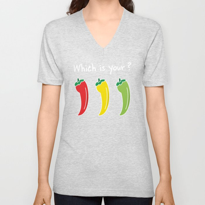 Three Hot Chili Peppers, Which is your? Unisex V-Neck