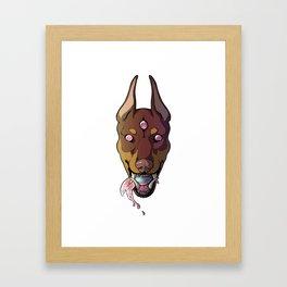 ★All-Seeing Doberman★ Red Framed Art Print