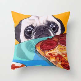 Hungry Pug Throw Pillow