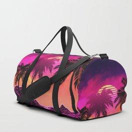 Pink vaporwave landscape with rocks and palms Duffle Bag