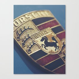 Porshe crest, macro photography for sport car wall art and mancave decor, 911, 912 german auto Canvas Print