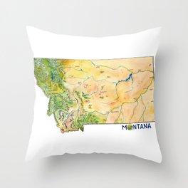 Montana Painted Map Throw Pillow