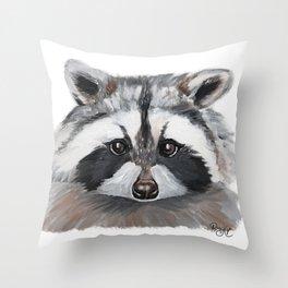 Rhubarb the Raccoon Throw Pillow