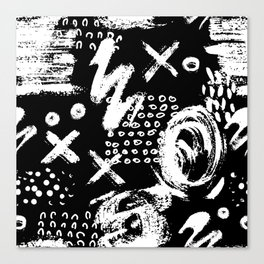 White chalk brush on black Canvas Print