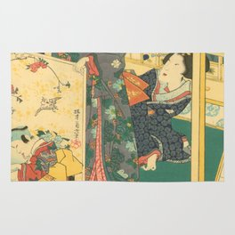 Spring Outing In A Villa Diptych #2 by Toyohara Kunichika Rug