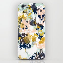 Sloane - Abstract painting in modern fresh colors navy, mint, blush, cream, white, and gold iPhone Skin