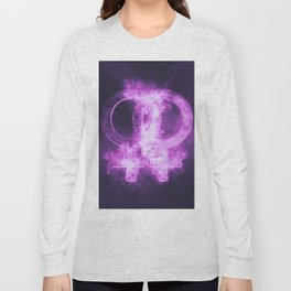 Female homosexuality symbol. Lesbian glyph. Doubled female sign. Abstract night sky background Long Sleeve T-shirt