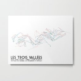 Les Trois Vallees, Savoie, France - European Colors - Minimalist Trail Art Metal Print