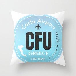CFU Corfu airport Throw Pillow