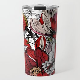 Boho Chic Red Poppy Flowers with Black and White Background Travel Mug