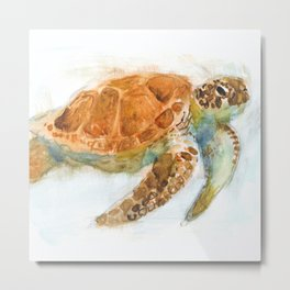Watercolour Turtle Metal Print