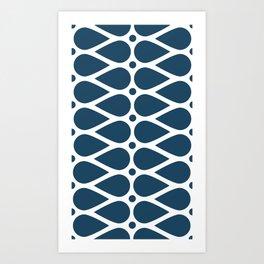 Geometric teardrop teal pattern Art Print