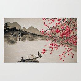 Japan Crane Fishing Rug