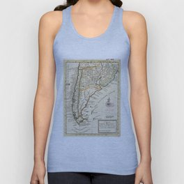 Vintage Map of Chile and Argentina (1732) Unisex Tank Top