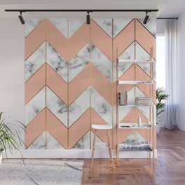 WHITE MARBLE WITH GOLD AND ROSE CHEVRON Wall Mural