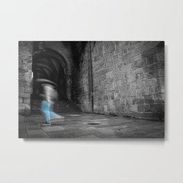 Street photography of a man in the rain in a building of the middle evo Metal Print