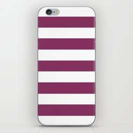 Boysenberry - solid color - white stripes pattern iPhone Skin