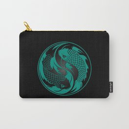 Teal Blue and Black Yin Yang Koi Fish Carry-All Pouch