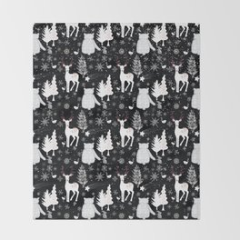 Merry Christmas - Simple X-mas Winter Forest Animals - Mix and Match with Simplicity of Life Throw Blanket