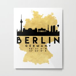 BERLIN GERMANY SILHOUETTE SKYLINE MAP ART Metal Print
