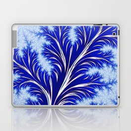 Abstract Blue Christmas Tree Branch with White Snowflakes Laptop & iPad Skin
