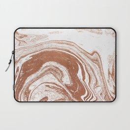 Marble copper metallic suminagashi spilled ink japanese marbling abstract ocean swirl Laptop Sleeve