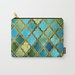Moroccan Quatrafoil Pattern, Vintage Stained Glass, Blue, Green and Gold Carry-All Pouch