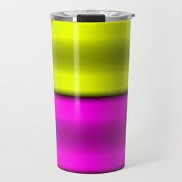 Pink & Yellow  Horizontal Stripes Travel Mug