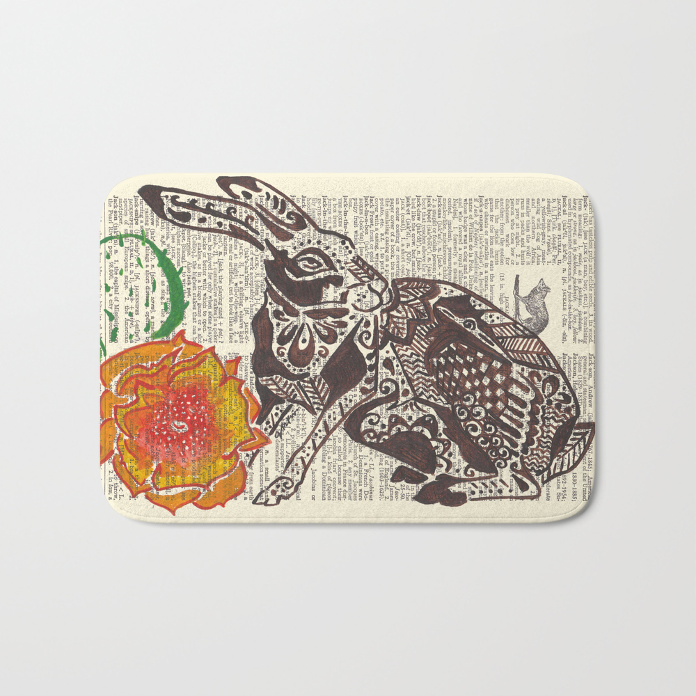 Jumpin' Jack Flash (jack Rabbit And Cactus Flower… Bath Mat by Janinwise BMT928718