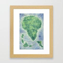 Jurassic Park - Map - Colour Framed Art Print