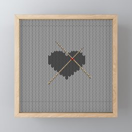 Original Knitted Heart Design Framed Mini Art Print