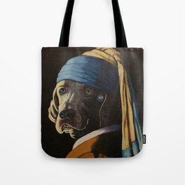 WEIMARANER WITH PEARL EARRING Tote Bag