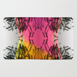 Black Fragments with Strawberry Pink Orange Sunset Gradient Rug