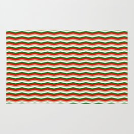 Red Green White and Gold Christmas Wavy Chevron Stripes Rug