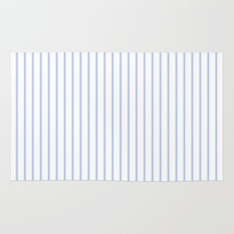 Alice Blue Pinstripe on White Rug
